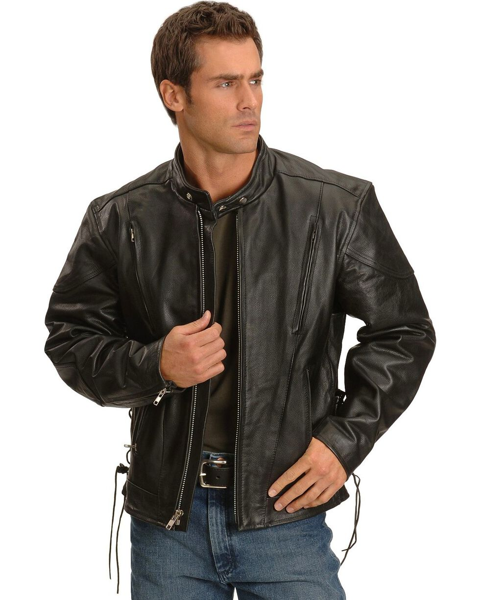 Interstate Leather Men's Jax Motorcycle Leather Jacket, Black, hi-res