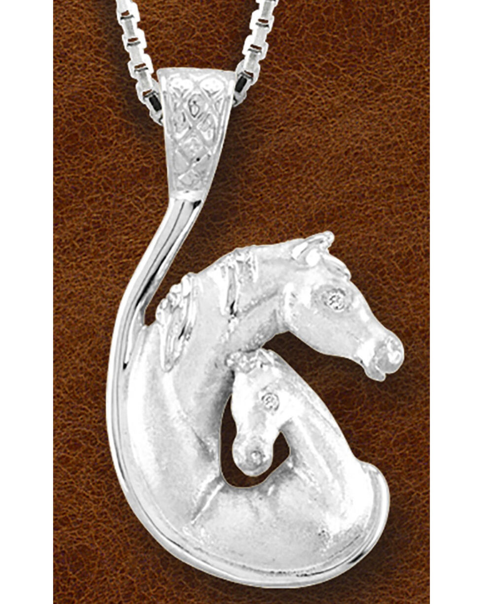 Kelly Herd Women's Sterling Silver Mare & Foal Head Necklace, Silver, hi-res