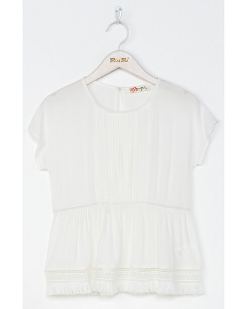 Miss Me Girls' White Let It Fray Top , White, hi-res