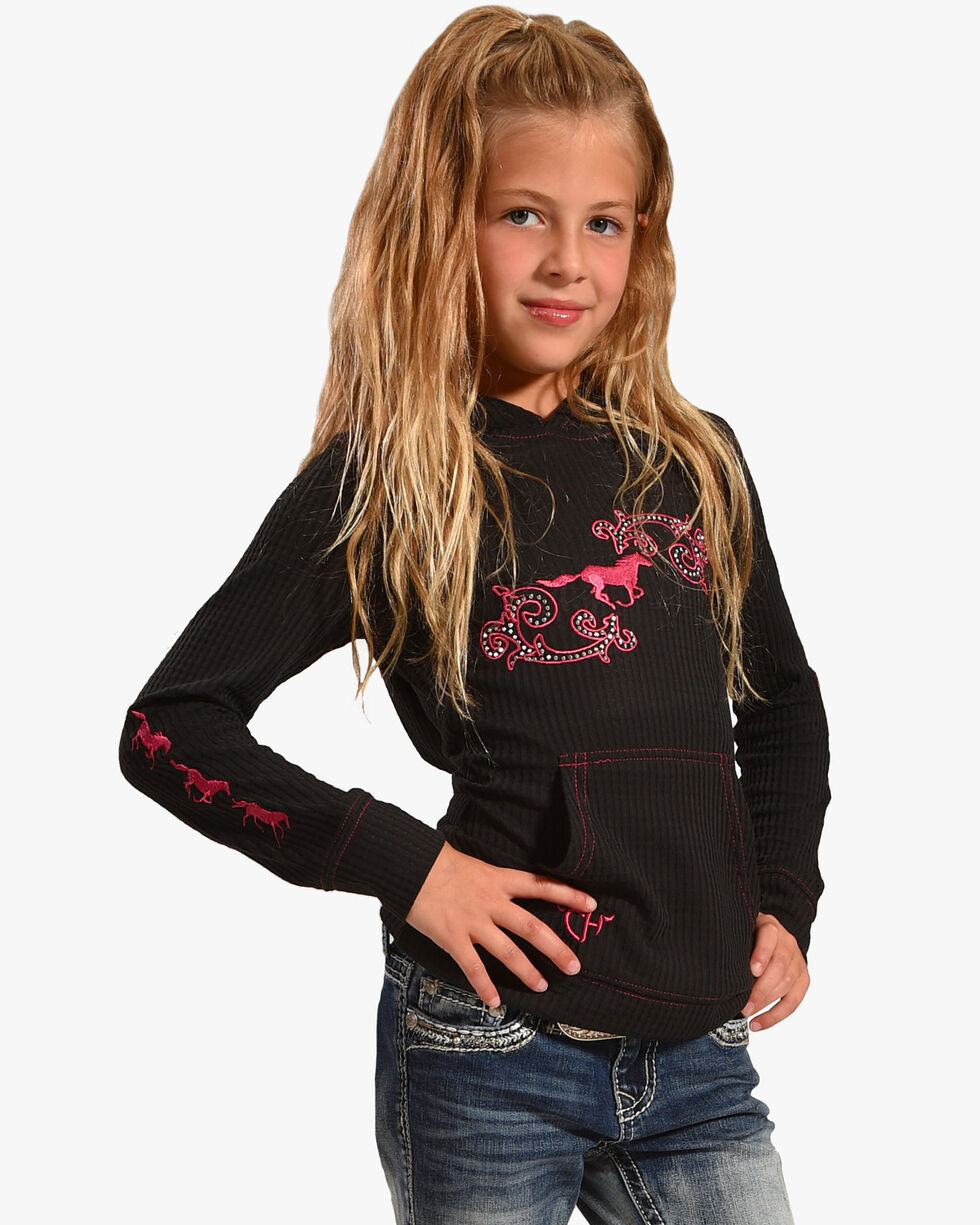 Cowgirl Hardware Girl's Horse Swirl Waffle Sweatshirt, Black, hi-res