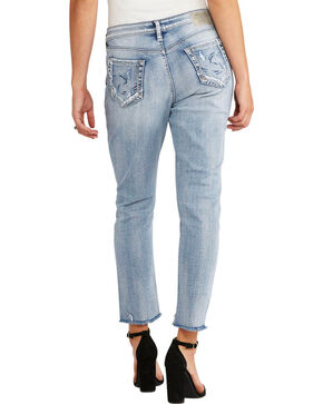 Silver Women's Light Indigo Loose Boyfriend Jeans - Straight Leg, Indigo, hi-res