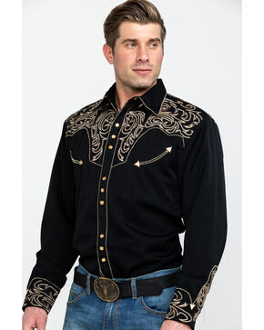 Scully Men's Embroidered Long Sleeve Western Shirt, Black, hi-res
