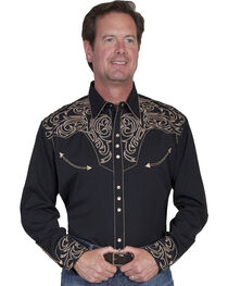 Scully Embroidered Scroll Western Shirt - Big Sizes (3XL and 4XL), , hi-res