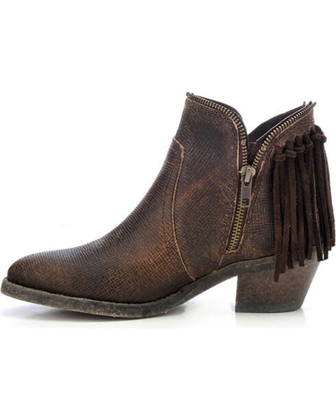 Circle G Women's Fringe Zip Up Fashion Booties, Brown, hi-res