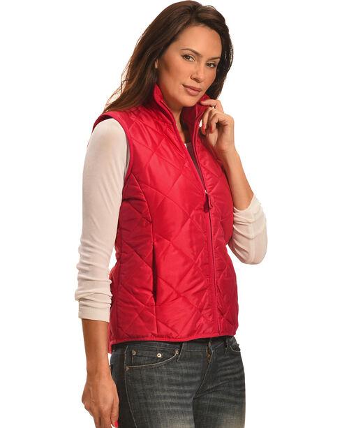 Jane Ashley Women's Coral Diamond Quilted Princess Vest , Coral, hi-res