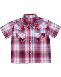 Wrangler Infant Boys' American Spirit Short Sleeve Plaid Shirt, , hi-res