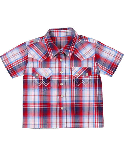 Wrangler Infant Boys' Plaid Short Sleeve Shirt, Am Spirit, hi-res