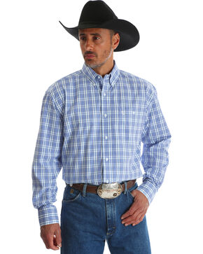 Wrangler George Strait Men's Blue Plaid Button Down Shirt - Tall, Blue, hi-res
