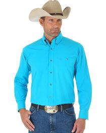 Wrangler George Strait Men's Turquoise Long Sleeve Shirt - Tall, , hi-res