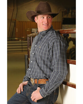Cinch Men's Navy Plaid Long Sleeve Western Shirt , Navy, hi-res