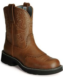 "Ariat Women's Fatbaby Scalloped 8"" Western Boots, , hi-res"
