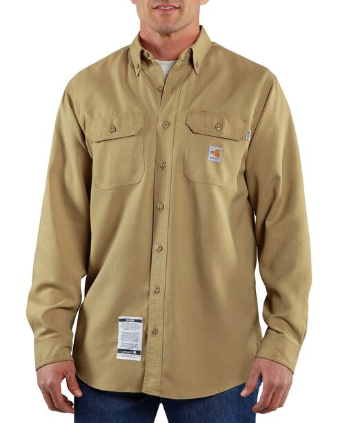 Carhartt Men's Long Sleeve Flame Resistant Work Shirt, Khaki, hi-res