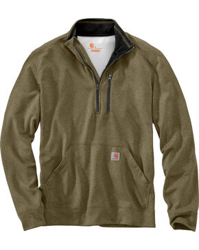 Carhartt Men's Force Extremes Mock-Neck Half-Zip Sweatshirt , Olive, hi-res
