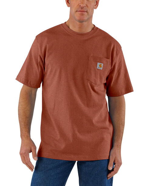 Carhartt Men's Sequoia Heather Workwear Pocket T-Shirt - Big, Brown, hi-res