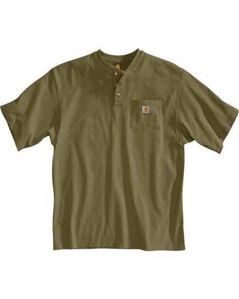 Carhartt Short Sleeve Green Henley Work Shirt, Green, hi-res