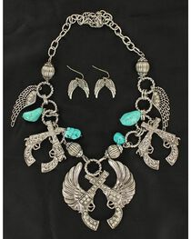 Blazin Roxx Winged Pistols Necklace & Earrings Set, , hi-res