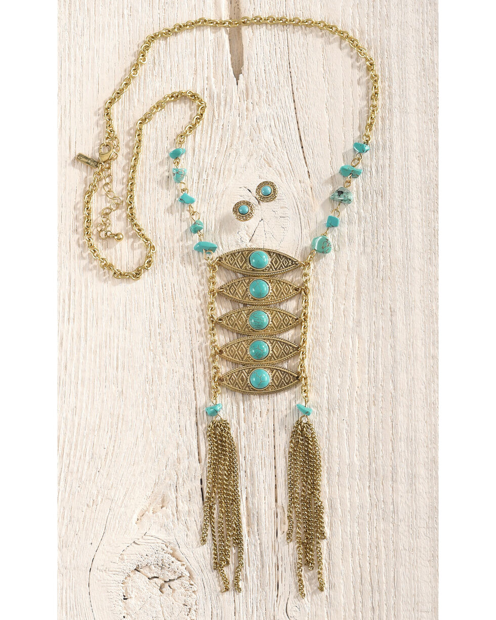 Shyanne Women's Turquoise Pendant Jewelry Set, Gold, hi-res
