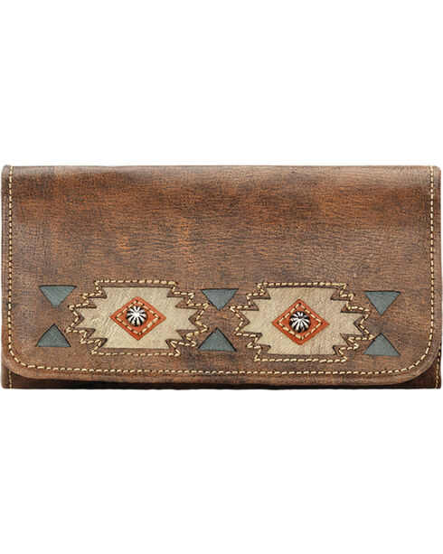 American West Women's Native Sun Tri-fold Wallet, Brown, hi-res