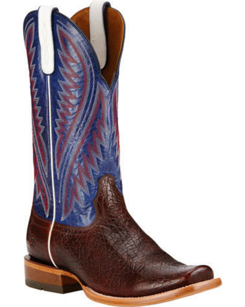 Ariat Men's Hoolihan Pebbled Western Boots, Burgundy, hi-res