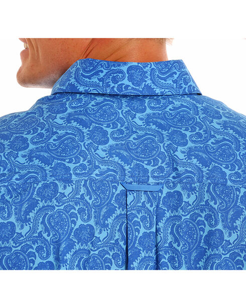 Tuf Cooper Performance Men's Competition Fit Paisley Print Shirt, Blue, hi-res