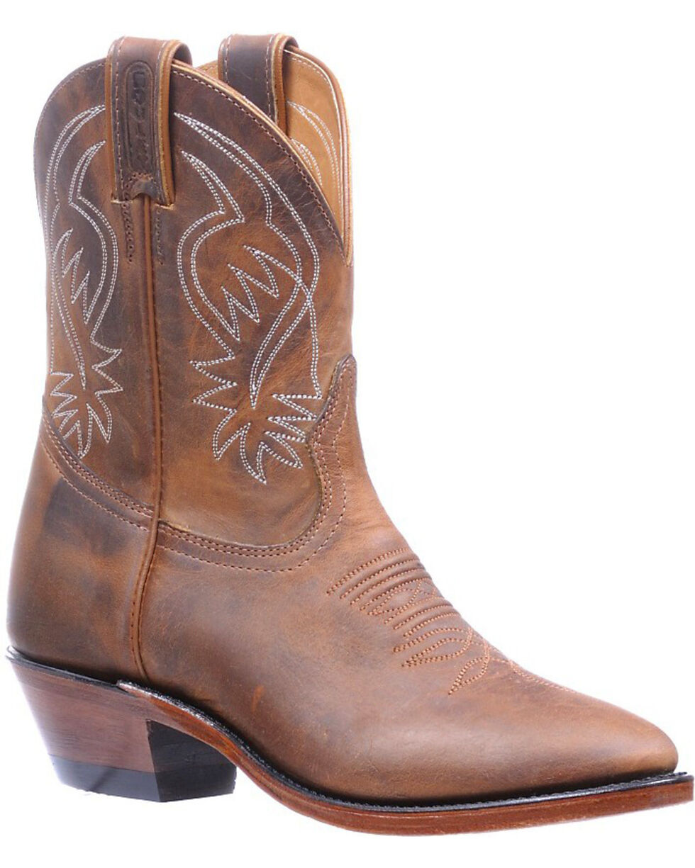Boulet Hillbilly Golden Shorty Cowgirl Boots - Round Toe , Tan, hi-res