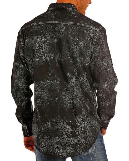 Rock & Roll Cowboy Men's Paisley Print Long Sleeve Shirt, Black, hi-res