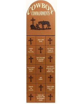 M&F Cowboy Commandments Wall Decor, Brown, hi-res