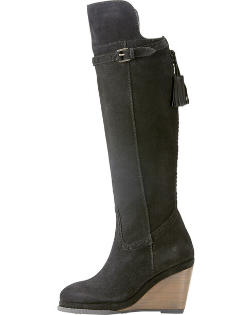 Ariat Women's Knoxville Black Suede Tall Wedge Boots - Round Toe, Black, hi-res