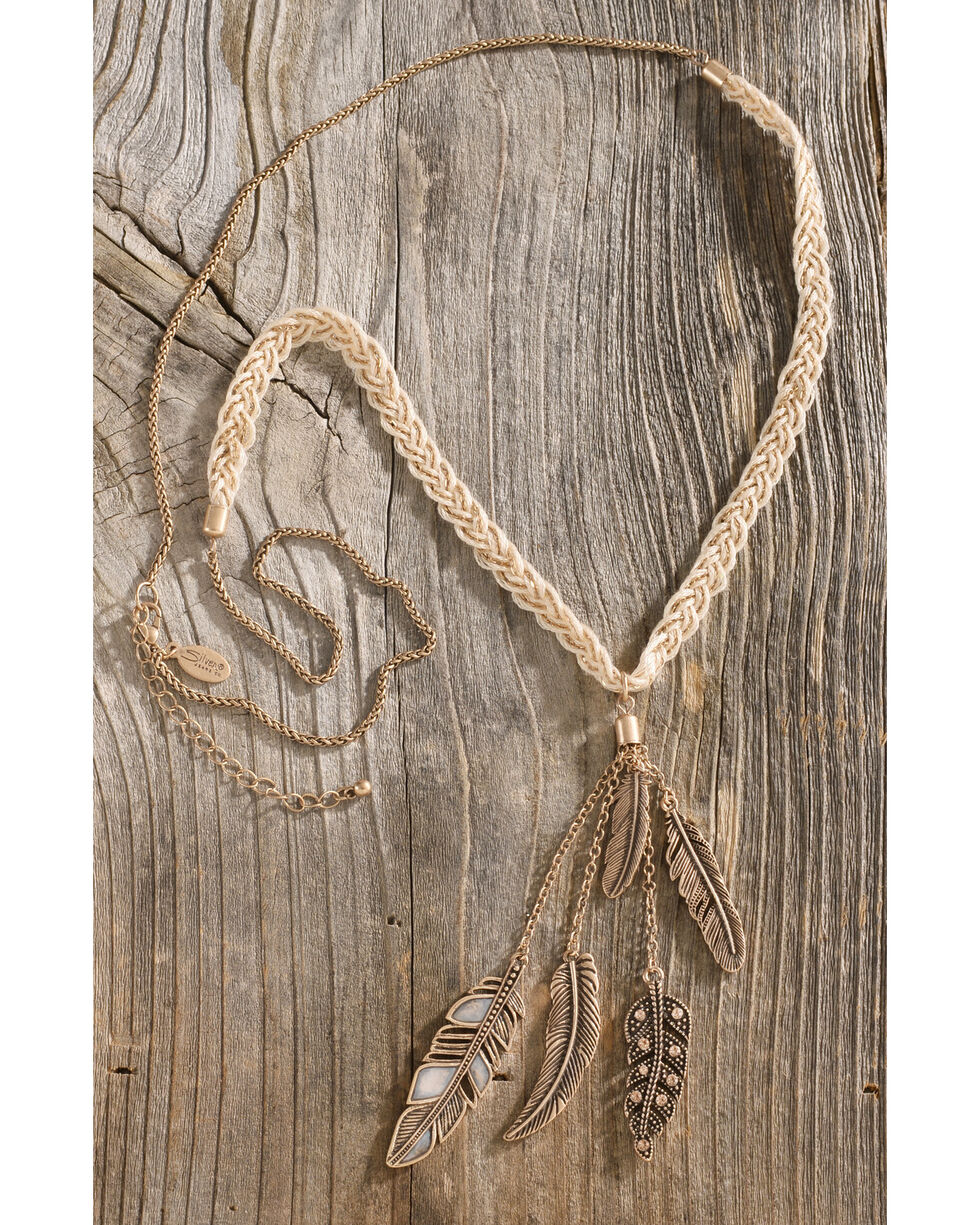 Silver Jeans Women's Genuine White Mother of Pearl Braided Feather Necklace, Gold, hi-res