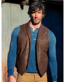 Ryan Michael Men's Tumbled Leather Vest , , hi-res