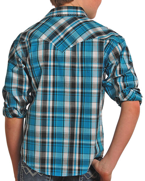 Panhandle Boys' Plaid Long Sleeve Shirt, Turquoise, hi-res