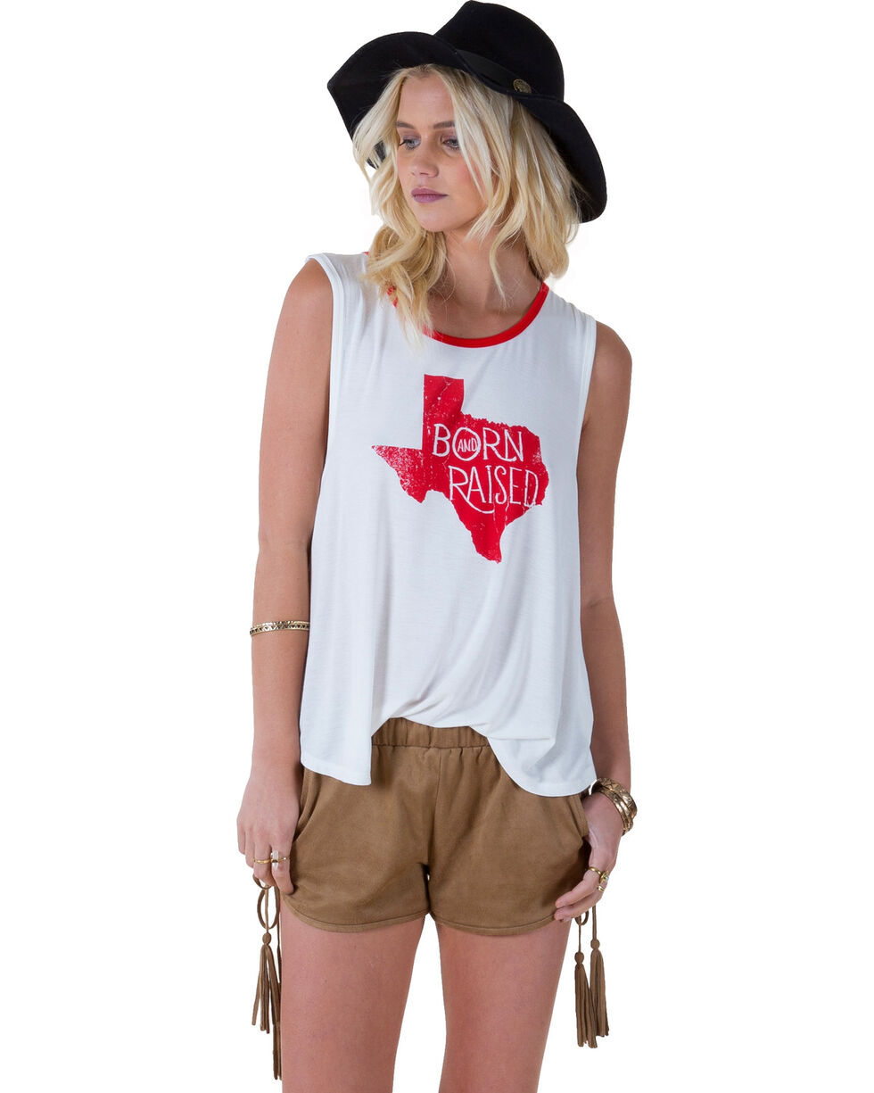 """White Crow Women's """"Born and Raised Texas"""" Tank Top, Cloude, hi-res"""