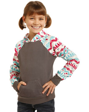 Rock & Roll Cowgirl Girls' Printed Aztec Hoodie , Multi, hi-res