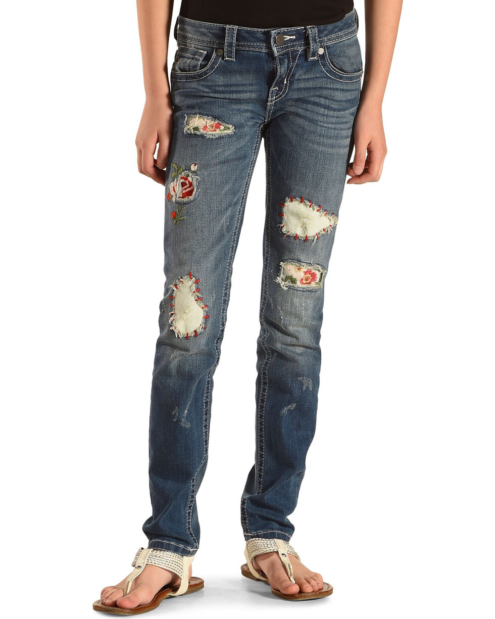 Miss Me Girls' Patch Party Skinny Jeans, Indigo, hi-res