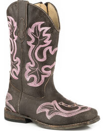 Roper Toddler Girls' Rhinestone Horseshoe Cowgirl Boots - Square Toe, , hi-res