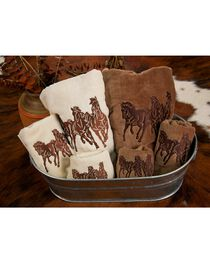 HiEnd Accents Three-Piece Embroidered Longhorn Bath Towel Set - Brown, , hi-res