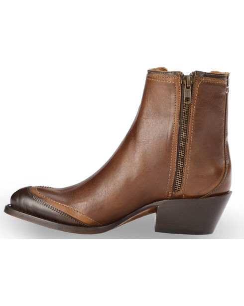 Lucchese Women's Handmade Tan Gia Chelsea Short Boots - Round Toe , Tan, hi-res