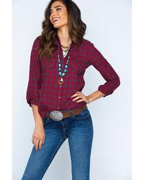 Ryan Michael Women's Red Mountain Jaspe Plaid Western Snap Shirt, , hi-res