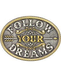 Montana Silversmiths Girls' Silver Follow Your Dreams Belt Buckle , , hi-res