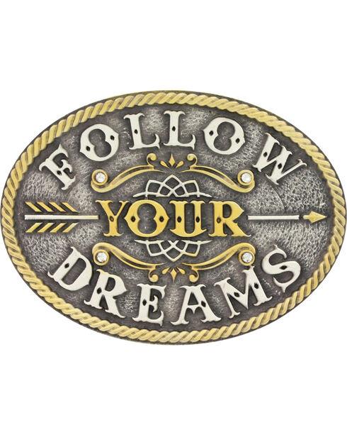Montana Silversmiths Girls' Silver Follow Your Dreams Belt Buckle , Silver, hi-res