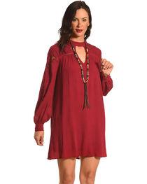HYFVE Women's Burgundy Lace Keyhole Long Sleeve Dress, , hi-res