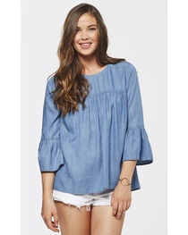 Glam Women's Potassium Slub Ruffle Shirt , , hi-res