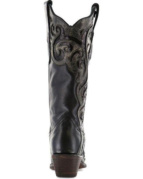 Corral Women's Laser Cut Sequin Inlay Snip Toe Boots, Black, hi-res