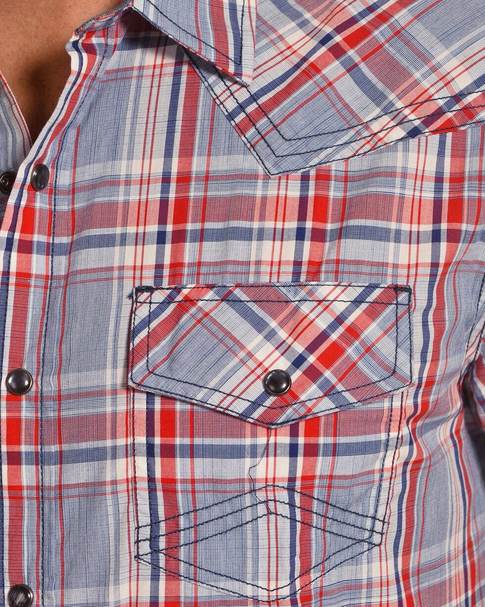 Cody James Men's Radar Plaid Short Sleeve Western Snap Shirt, Blue, hi-res