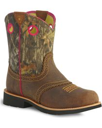 Ariat Fatbaby Girls' Camo Cowgirl Boots, , hi-res