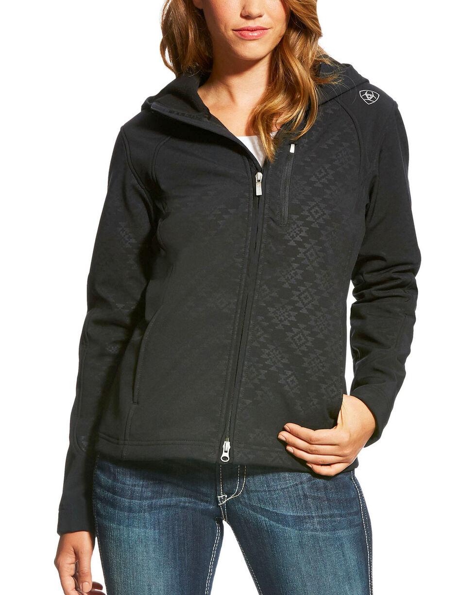 Ariat Women's Black Aztec Print Full Zip Soft Shell Jacket , , hi-res