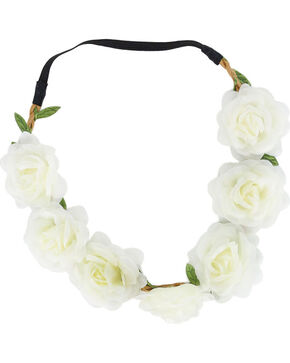 Shyanne® Women's Rose Flower Crown Headband, White, hi-res