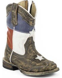 Roper Toddler Boys' Texas Flag Inside Zip Cowboy Boots - Square Toe, , hi-res