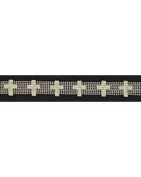 Rhinestone Cross Concho Hatband, Silver, hi-res