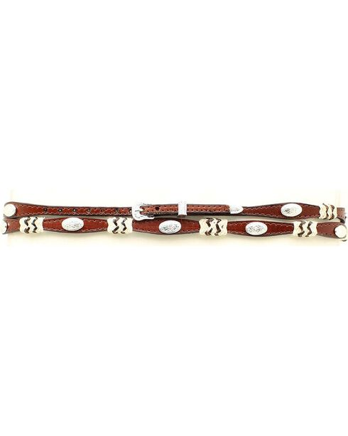 Brown Scalloped Leather Rawhide Laced Hat Band, Brown, hi-res
